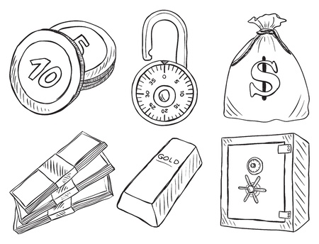 safety box: Illustration of money and safe  - hand drawn style