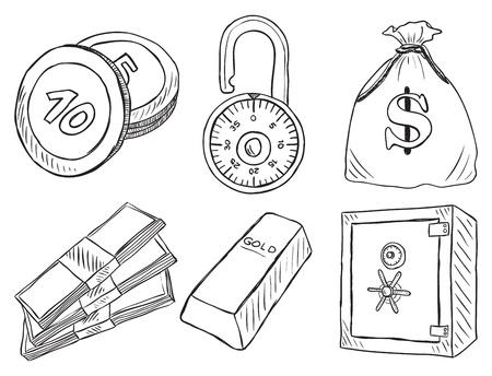 safe deposit box: Illustration of money and safe  - hand drawn style