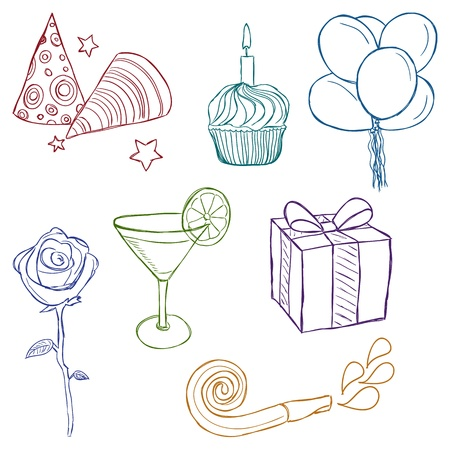cute doodle: Illustration of birthday or party icons - sketch style Illustration