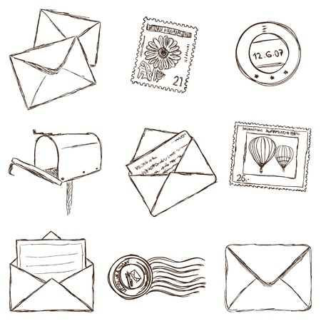 letter envelope: Illustration of postal and mailing icons - sketch style
