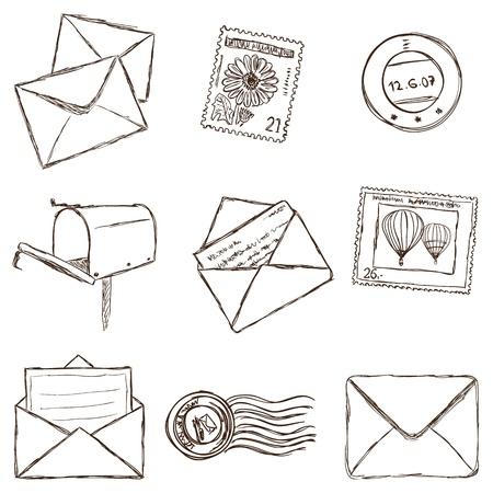sobres para carta: Ilustraci�n de la postal y los iconos de correo - estilo del bosquejo