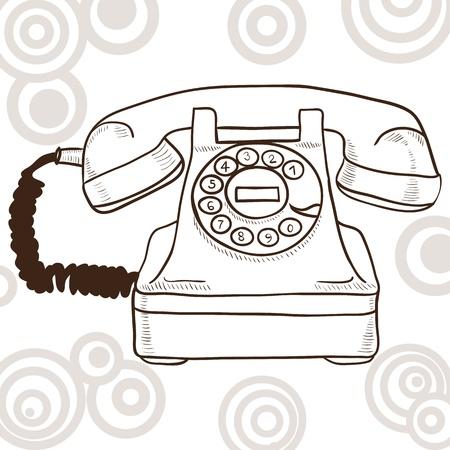 hablar por telefono: Antiguo tel�fono de cosecha - ilustraci�n con look retro Vectores