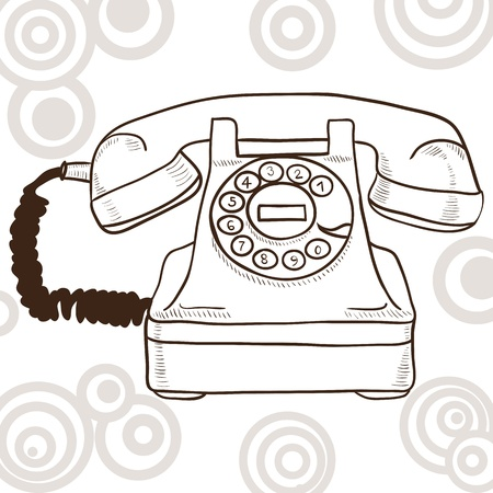 ancient telephone: Old vintage telephone - illustration with retro look