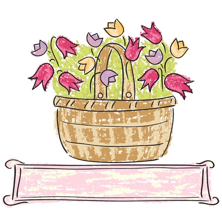 Illustration of basket with flowers, watercolor style Vector