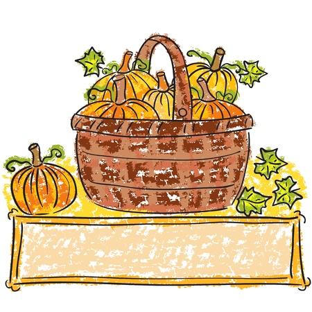 Illustration of basket with pumpkins - harvest time Stock Vector - 15046774