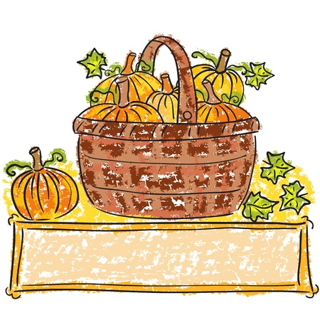harvest time: Illustration of basket with pumpkins - harvest time Illustration