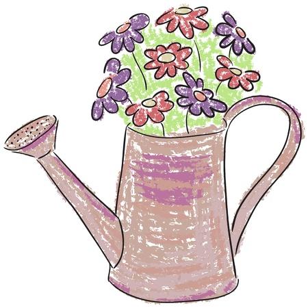 喷壶的例证与花的 - 水彩样式