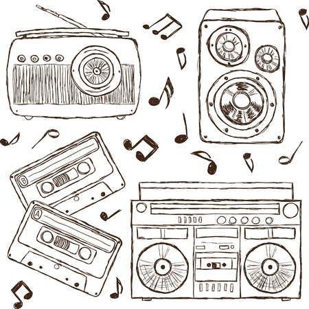 Collection of retro music elements, sketch style Vector