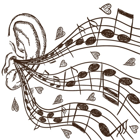 abstract melody: Illustration of ear and notes - hand drawn style