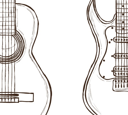 electric guitars: Illustration of acoustic and electric guitar - hand drawn style