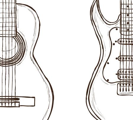 guitarra acustica: Ilustración de la guitarra acústica y eléctrica - dibujado a mano de estilo