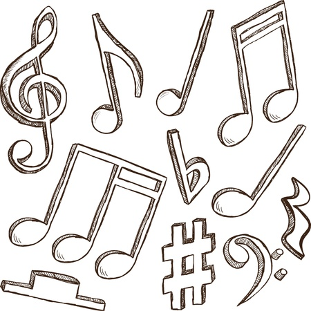 Illustration of 3d notes and clefs - hand drawn style