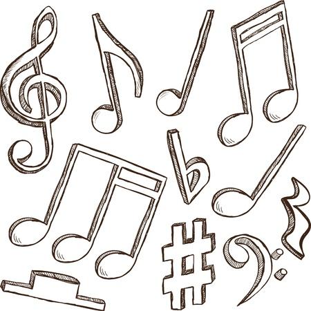 musical notes: Ilustración 3d de notas y claves - dibujado a mano de estilo
