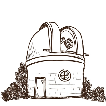 observatory: Illustration of astronomical observatory - hand drawn style