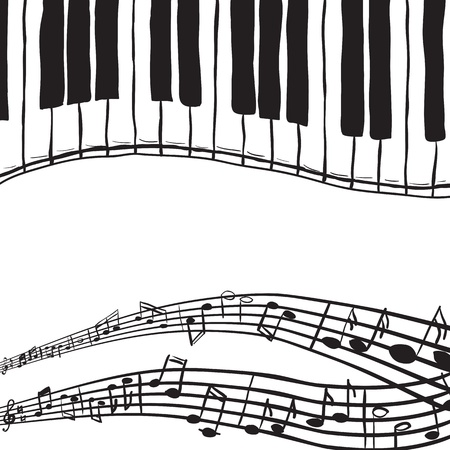 musical notes background: Illustration of piano keys and music notes - hand drawn style