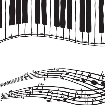 piano keys: Illustration of piano keys and music notes - hand drawn style