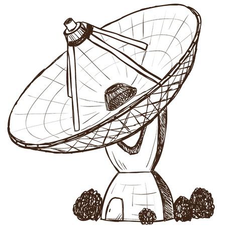 omroep: Illustratie van astronomische satelliet - hand getrokken stijl