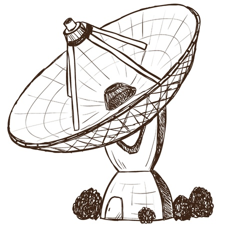 radio telescope: Illustration of astronomical satellite - hand drawn style Illustration
