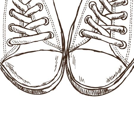 running shoe: Illustrazione di scarpe da ginnastica abbozzati - immagine disegnata a mano