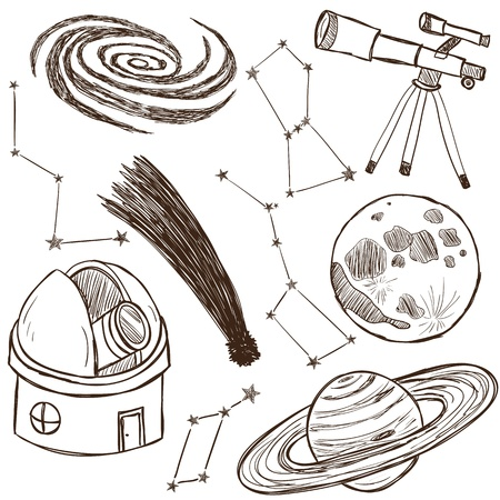telescope: Set of astronomical and space objects - hand drawn illustration