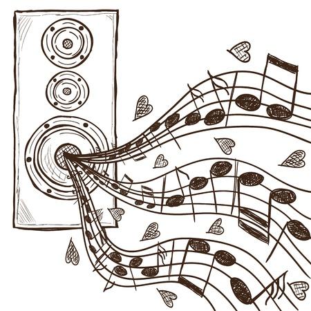 boite a musique: Illustration de haut-parleur et notes - dessin�s � la main de style Illustration