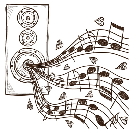 Ilustración del altavoz y notas - dibujado a mano de estilo
