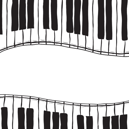hands on keyboard: Illustration of piano keys - hand drawn style