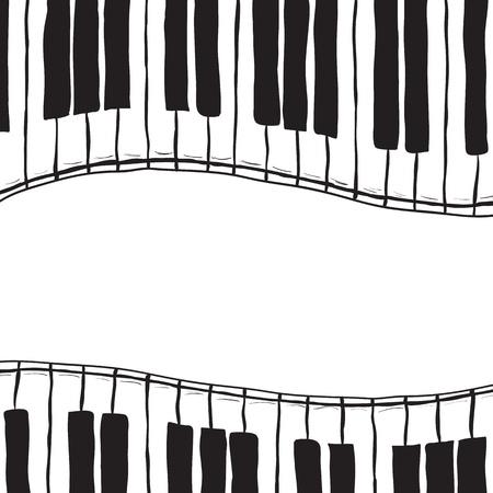 teclado de piano: Ilustración de teclas de piano - estilo dibujado a mano