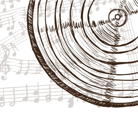 Illustration of vinyl record or compact disc and music notes - hand drawn style