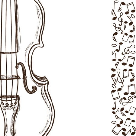 Illustration of violin or bass and music notes - hand drawn style Vector