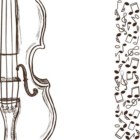 orquesta clasica: Ilustración del violín o contrabajo y notas de la música - estilo dibujado a mano