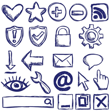 folder lock: Illustration of internet web icons - hand drawn style
