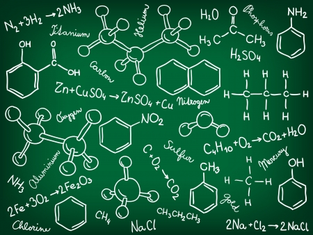 Chemie Hintergrund - Molekül-Modelle und Formeln, handgezeichnete Abbildung Vektorgrafik