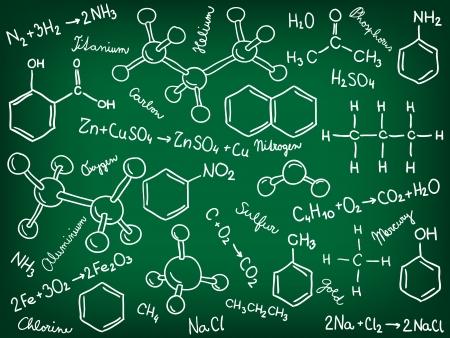 Chemistry background - molecule models and formulas, hand-drawn illustration