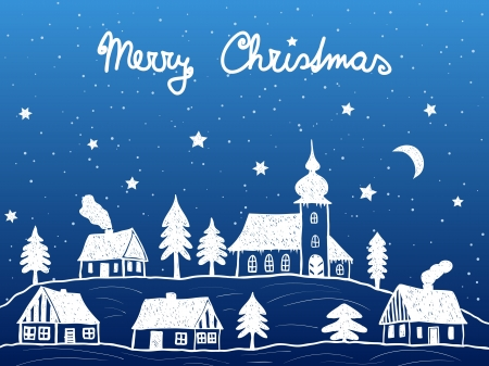 Christmas village with church at night - hand drawn illustration Vector