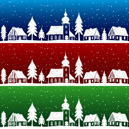 christmas in the city: Christmas village with church seamless pattern - hand drawn illustration