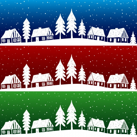 seamless sky: Christmas village with snow seamless pattern - hand drawn illustration