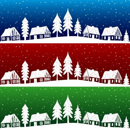 christmas church: Christmas village with snow seamless pattern - hand drawn illustration