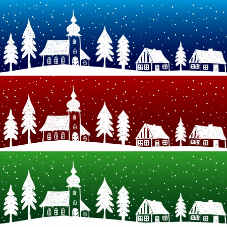 christmas house: Christmas village with church seamless pattern - hand drawn illustration