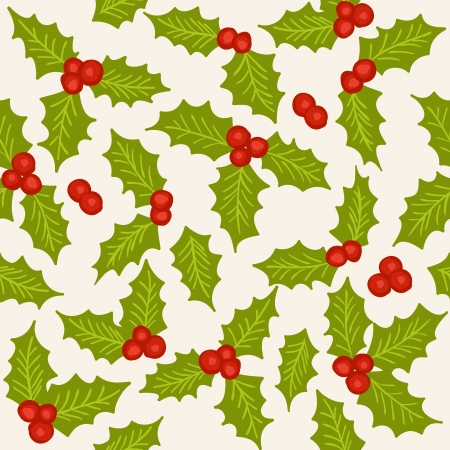 Holly - natural winter seamless pattern - christmas background Vector