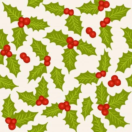 hulst: Holly - natuurlijke winter naadloze patroon - Kerst achtergrond Stock Illustratie