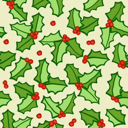 Holly - natural winter seamless pattern - christmas background
