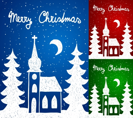 Christmas hand - drawn illustration, church and trees Vector
