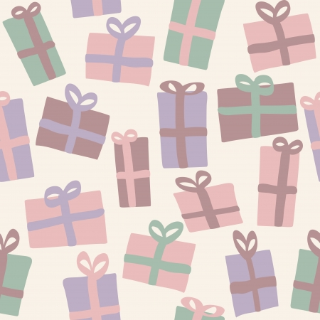 Christmas presents seamless pattern, background with retro colors Vector