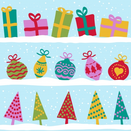 Christmas winter seamless pattern, presents, balls and trees on snow Stock Vector - 15326100