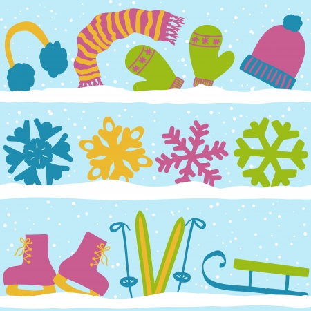 sledge: Christmas winter seamless pattern, clothes, snowflakes and sport equipment on snow