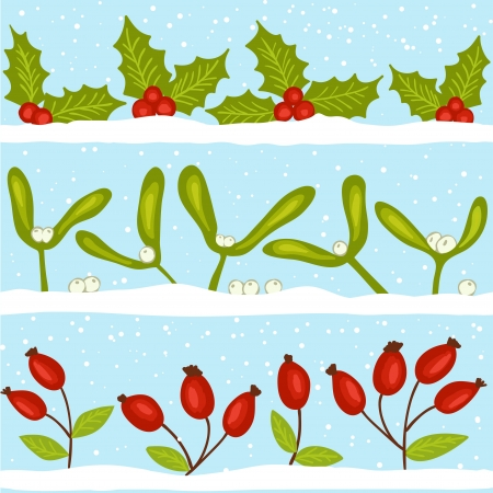 Christmas winter seamless pattern, holly, mistletoe and rosehips on snow Stock Vector - 15326108