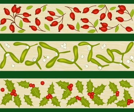 Christmas winter natural decoration - seamless pattern, rosehip, mistletoe and holly Stock Vector - 15326110