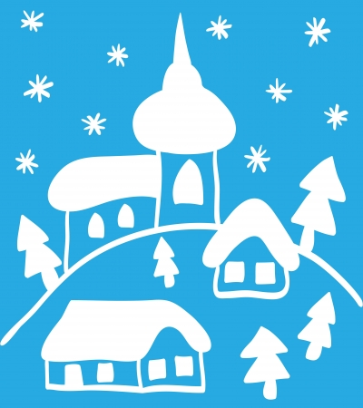 Christmas hand - drawn illustration, church and houses Vector