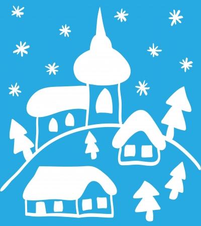 Christmas hand - drawn illustration, church and houses Stock Vector - 15326090